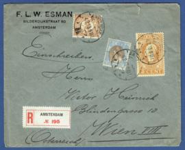 Firma cover AMSTERDAM 1919 met jubileum 1913, cijfer en bontkraag van AMSTERDAM naar Oostenrijk. Aangetekend.