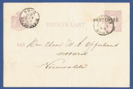 G - Briefkaart met langstempel WESTERLEE en kleinrondstempel VEENDAM naar Nieuwolda.