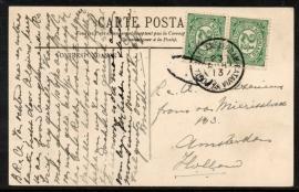 Briefkaart met grootrondstempel (bootstempel) POSTAGENT AMSTERDAM-BATAVIA naar Amsterdam