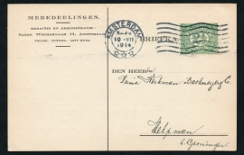 Firma briefkaart AMSTERDAM 1914 met vlagstempel AMSTERDAM naar Helpman.