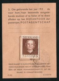 Postbuskaartje AMSTERDAM  1954 met nvph 536.