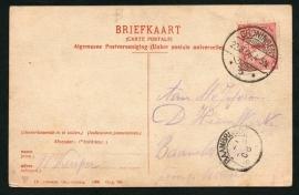 Briefkaart met langebalkstempel / martinstempel GRONINGEN 2 naar BAAMBRUGGE. Op ansichtkaart GRONINGEN, Zuiderpark langs het Kanaal.