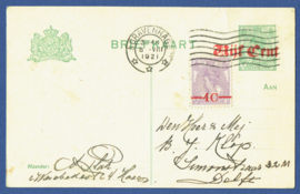 G - Briefkaart met overdruk en bijfrankering met vlagstempel 's GRAVENHAGE naar Delft.