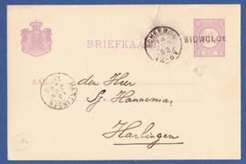 G - Briefkaart met langstempel MIDWOLDE en kleinrondstempel SCHEEMDA naar HARLINGEN.