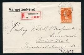 Cover met kortebalkstempel ROTTERDAM naar Duitsland. Aangetekend.