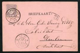 Firma briefkaart HAARLEM 1897 met grootrondstempel ZWIJNDRECHT naar HAARLEM.