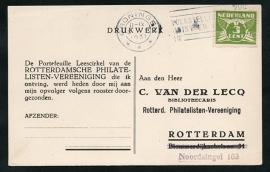 Roltanding 38 op firma briefkaart met vlagstempel GRONINGEN naar Rotterdam.