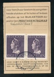 Half postbuskaartje ROTTERDAM 1947 met nvph 349 in paar. ROTTERDAM-CALANDSTRAAT.