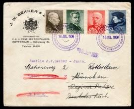ROTTERDAM, Erasmus Herdenking 1536-1936. Op firmacover Rotterdam. Met zomerzegels 1936 (serie).
