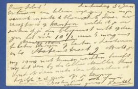 G - Briefkaart met vlagstempel 's GRAVENHAGE. Bestellen op zondag.