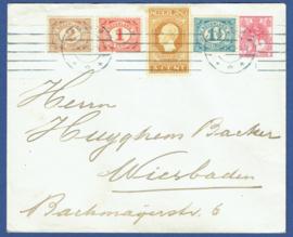 G - Cover met cijfer en jubileum 1913 van ARNHEM naar Duitsland.