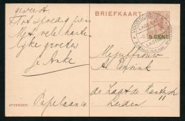 VOORSCHOTEN Lage Belasting, Aangenaam wonen. 2 November 1927. Op G - Briefkaart.