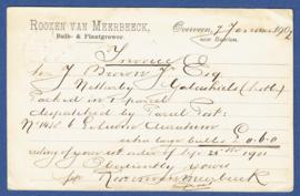 Particulier postwaardestuk OVERVEEN 1902. ROOZEN van MEERBEECK van HAARLEM naar Schotland.