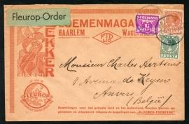 Firma cover HAARLEM 1933 met kortebalkstempel HAARLEN naar België.