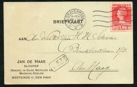Firma briefkaart 's GRAVENHAGE 1925 met vlagstempel 's GRAVENHAGE, lokaal verzonden.