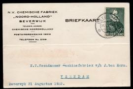 Firma briefkaart BEVERWIJK 1933 met kortebalkstempel BEVERWIJK naar Veendam.