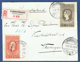 Aangetekende cover met jubileum 1913 van 's GRAVENHAGE naar VLISSINGEN. Met lak verzegeld.