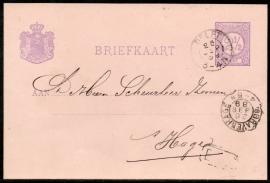 G - Briefkaart met kleinrondstempel DELFT naar `S GRAVENHAGE (kopstaand maand).