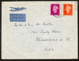Luchtpostcover met kortebalkstempel WASSENAAR naar U.S.A. Met originele brief.