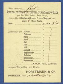 Particulier postwaardestuk ROTTERDAM 1878. HORSTMANN & Co met trajectstempel UTR:-ROTTERD: naar Duitsland.