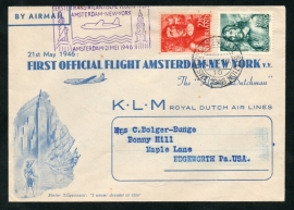 FIRST OFFICIAL FLIGHT AMSTERDAM-NEW YORK v.v. 21 MEI 1946.