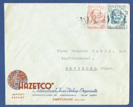 Firma cover AMSTERDAM 1947 van AMSTERDAM naar Herdecke, Duitsland.