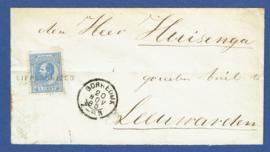 LIPPENHUIZEN 1885. Cover met langstempel LIPPENHUIZEN en kleinrondstempel GORREDIJK naar LEEUWARDEN.