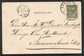 Briefkaart met grootrondstempel BAARN naar NIEUWERSLUIS.