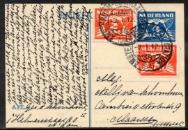G - Briefkaart met bijfrankering met kortebalkstempel AMSTERDAM-CENTRAAL STATION naar Maarssen.