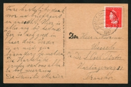 Briefkaart met kortebalkstempel ERMELO-VELDWIJK naar Franeker. Op ansichtkaart.