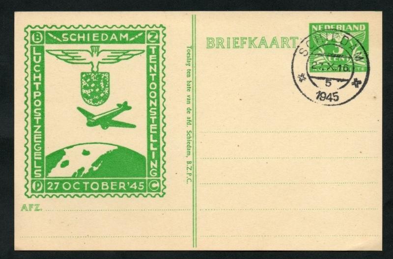 Particulier postwaardestuk SCHIEDAM luchtpostzegels tentoonstelling 27 October `45.