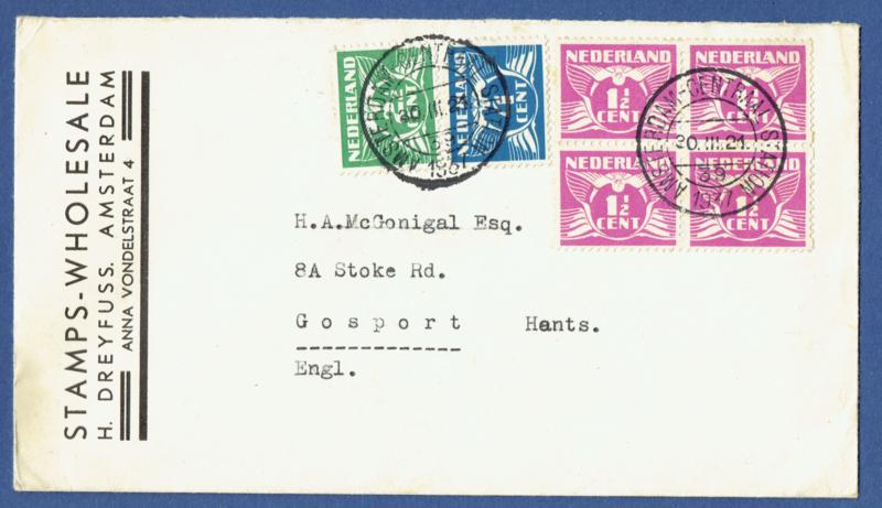 Firma cover met roltanding van AMSTERDAM naar Engeland.