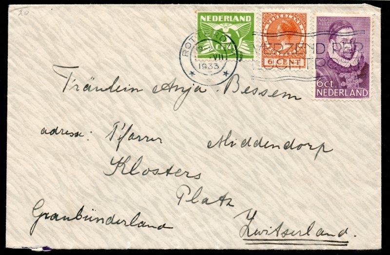 Cover met vlagstempel ROTTERDAM naar Zwitserland.