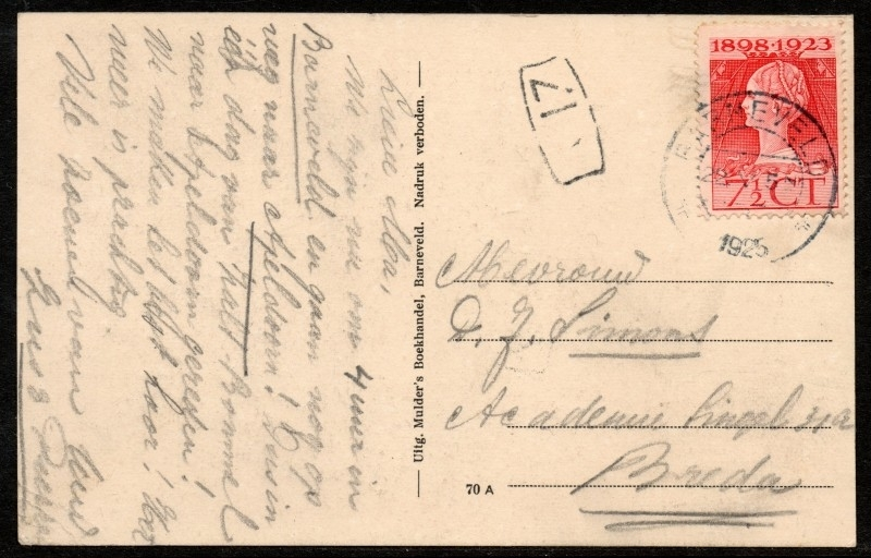 Briefkaart met kortebalkstempel BARNEVELD naar Breda. Op ansichtkaart Barneveld.
