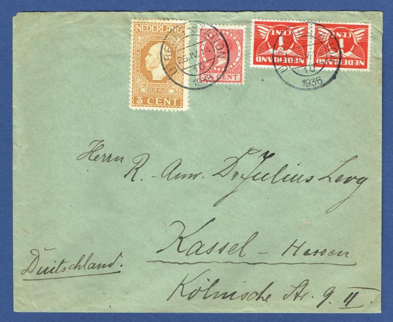 Cover met mengfrankering van UTRECHT naar Duitsland.