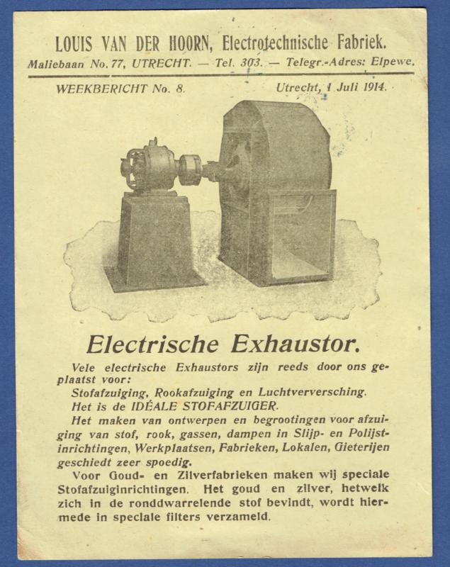 Firma briefkaart UTRECHT 1914 met langebalkstempel UTRECHT naar Joure. Geïllustreerd.