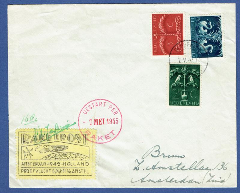 RAKETPOST, Amsterdam 1945. Gestart per 7 mei 1945. Raket.