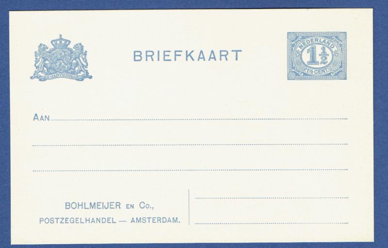 Particulier postwaardestuk BOHLMEIJER en Co. POSTZEGELHANDEL AMSTERDAM. Ongebruikt.