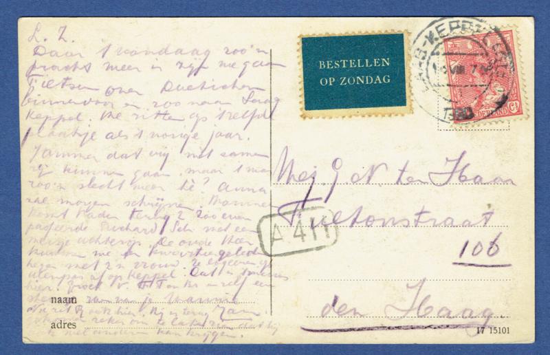 Briefkaart met kortebalkstempel LAAG-KEPPEL(Gld) naar Den Haag. Bestellen op zondag. op AK Huize Keppel.