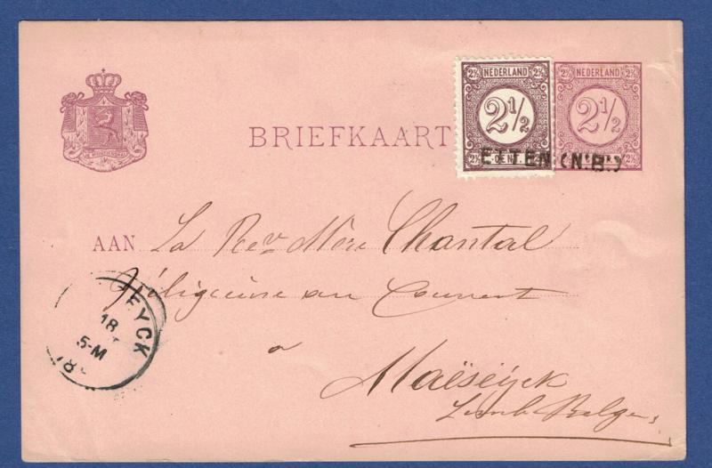 G - Briefkaart met bijfrankering en langstempel ETTEN (N:B:) naar België.