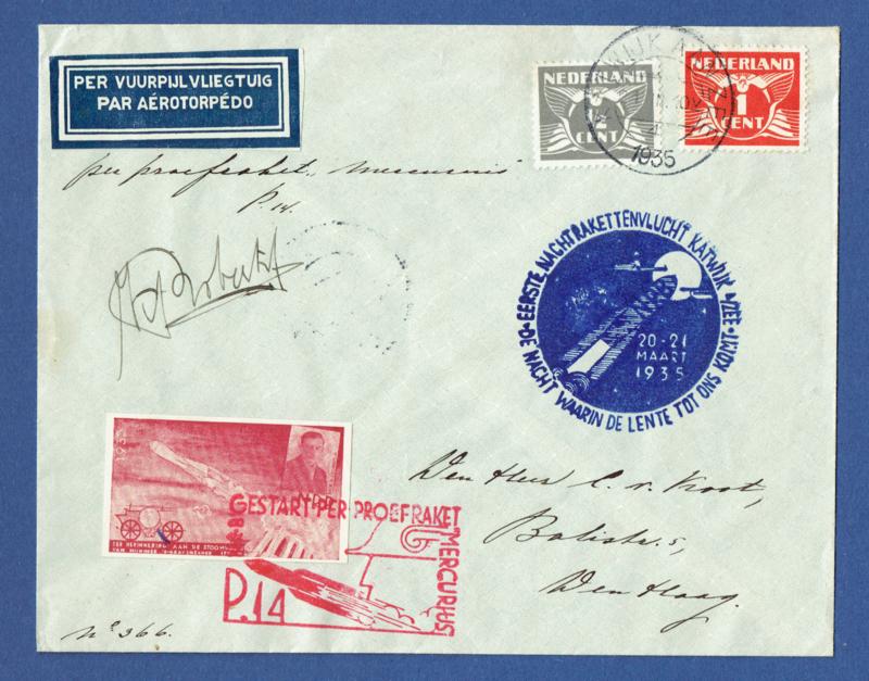Raketpost cover Mercurius 1935. Eerste nachtrakettenvlucht Katwijk aan zee.Met handtekening. Per vuurpijl vliegtuig.