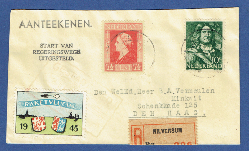 Raket post Hilversum 1945. Gestart per 2 september 1945. Hilversum Rotterdam. Rocket flight.