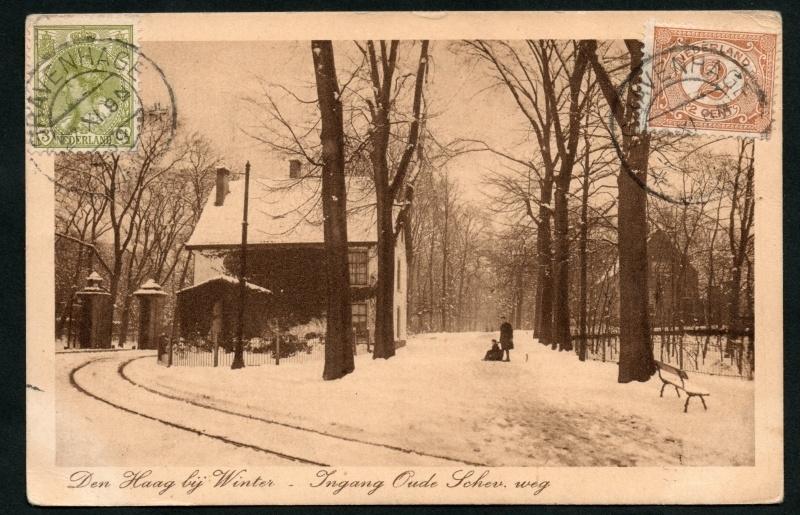 DEN HAAG, Den Haag bij winter. Ingang Oude Schev. weg.
