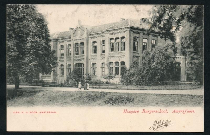 AMERSFOORT, Hogere Burgerschool. Gelopen kaart.