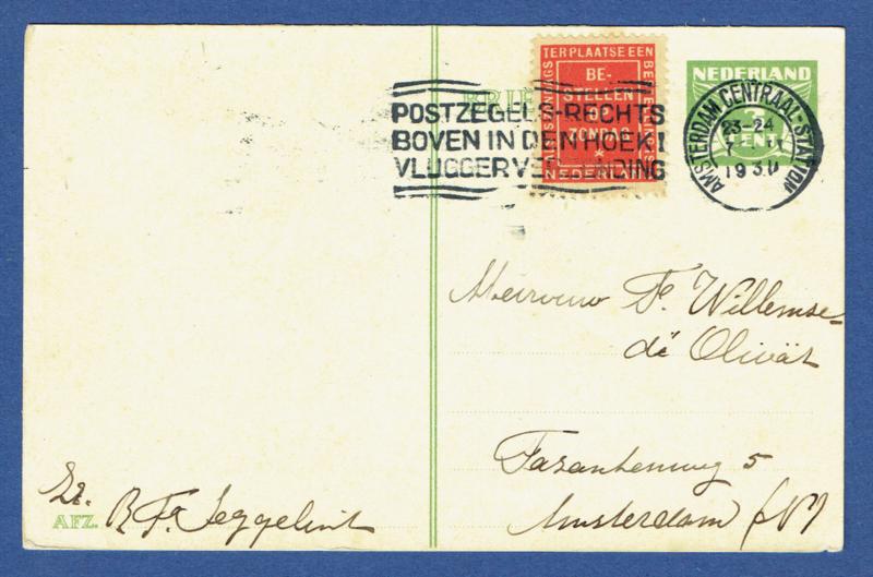 G - Briefkaart met vlagstempel AMSTERDAM CENTRAAL STATION. Bestellen op zondag.