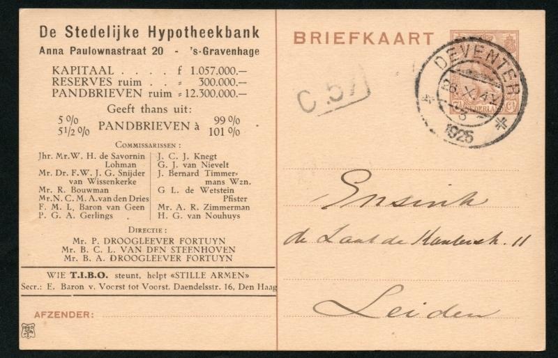 Particulier postwaardestuk, DE STEDELIJKE HYPOTHEEKBANK.