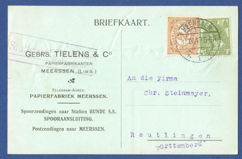 Firma briefkaart MEERSSEN 1917 met langebalkstempel MEERSSEN naar Duitsland.