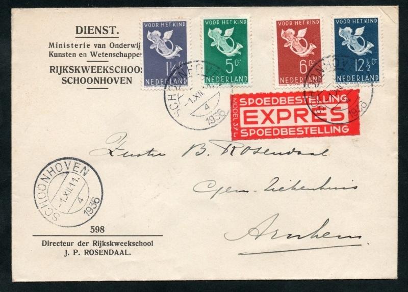 Firma cover SCHOONHOVEN 1936 met kindserie 1936 van SCHOONHOVEN naar ARNHEM. EXPRES, SPOEDBESTELLING. Eerste dag afstempeling.