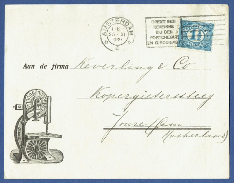 Firma briefkaart AMSTERDAM 1920 met vlagstempel AMSTERDAM naar Joure. Geïllustreerd.
