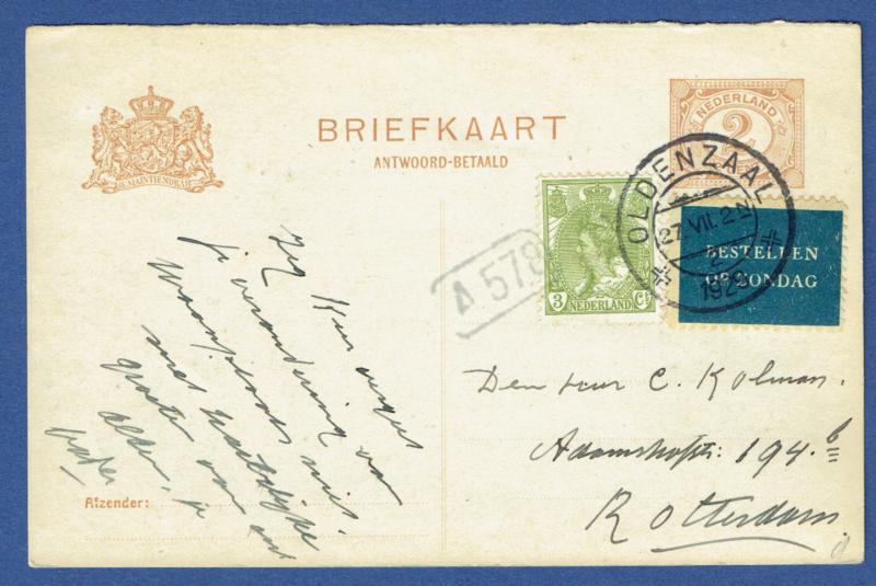 G - Briefkaart (antwoordkaart) met bijfrankering met kortebalkstempel OLDENZAAL naar Rotterdam. Bestellen op zondag.